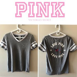 3/$30 PINK Baseball Tee with Floral Back Design